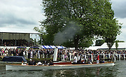 """Henley on Thames, United kingdom,  Steam Launch, """"Consuta"""" moving through the Stewards Enclousure on route to the start at the  Annual 2002 Henley Royal Regatta, Henley Reach, River Thames, England, [Mandatory Credit: Peter Spurrier/Intersport Images] 6/7/2002 - Sat. 20020703 Henley Royal Regatta, Henley, Great Britain"""