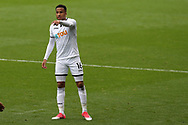 Martin Olsson of Swansea city looks on.  Premier league match, Swansea city v Huddersfield Town at the Liberty Stadium in Swansea, South Wales on Saturday 14th October 2017.<br /> pic by  Andrew Orchard, Andrew Orchard sports photography.
