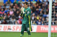 Eldin Jakupovic , the Hull city goalkeeper looks on. Premier league match, Swansea city v Hull city at the Liberty Stadium in Swansea, South Wales on Saturday 20th August 2016.<br /> pic by Andrew Orchard, Andrew Orchard sports photography.