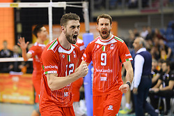 December 16, 2017 - Krakow, Malopolska, Poland - Enrico Cester (12) and Jiri Kovar (9) of Lube Civitanova  celebrate a point during the match between Lube Civitanova and SKRA Belchatow during the semi finals of Volleyball Men's Club World Championship 2017 in Tauron Arena, Krakow. (Credit Image: © Omar Marques/SOPA via ZUMA Wire)