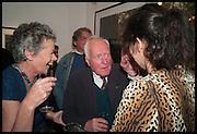 JANIE SCALA; DESMOND GUINNESS; JASMINE GUINNESS Mim Scala, In Motion, private view. Eleven. Eccleston st. London. 9 October 2014.
