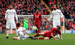 Liverpool's Steve McManaman (right) in action during the Legends match at Anfield Stadium, Liverpool.