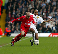 Fotball: Liverpool Danny Murphy and Leeds Olivier Dacourt during the Premiership match at Elland Road, Leeds.<br /><br />Sunday February 3rd 2002<br /><br />Foto: David Rawcliffe/Digitalsport<br /><br />Any problems call David Rawcliffe - 07973 142020 - 07092 261 201 - david@propaganda-photo.com