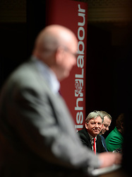 Pictured: Dundee City Council Labour Group leader Councillor Kevin Keenan opened the conference, watched by Scottish Labour leader Richard Leonard.<br /> <br /> The Scottish Labour Party spring conference opened in Dundee on Friday, where Scottish Labour leader Richard Leonard joined delegates and party activists.<br /> <br /> <br /> © Dave Johnston / EEm