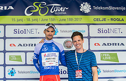 Mountain classification winner Luca Pacioni (ITA) of Androni-Sidermec-Bottecchia with Jaka Lopatic celebrate in blue jersey during trophy ceremony after the Stage 2 of 24th Tour of Slovenia 2017 / Tour de Slovenie from Ljubljana to Ljubljana (169,9 km) cycling race on June 16, 2017 in Slovenia. Photo by Vid Ponikvar / Sportida