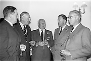 21/09/1963<br /> 09/21/1963<br /> 21 September 1963<br /> Ranks Ireland (Sales) Limited, Sales Conference and Luncheon at the Shelbourne Hotel, Dublin. Picture shows (l-r): Mr M.B. Stubbs, Director; Mr Maurice Goodbody, Chairman; Mr T.R.W. Deakin, Director; Mr T.E. Haling and Mr Peter Greenwood, Directors, chatting at the reception.