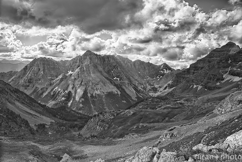 View of Maroon Bells and Sleeping Sexton from Buckskin Pass on the Four Loop Pass