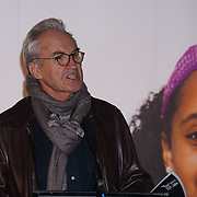 London, UK. 7th October, 2016. Speaker Larry Lamb at the sleeps-out at Byte Night 2016 - Action for Children to tackle youth homelessness in London at Norton Rose Fulbright, 3 More London Riverside, London, UK. Photo by See Li