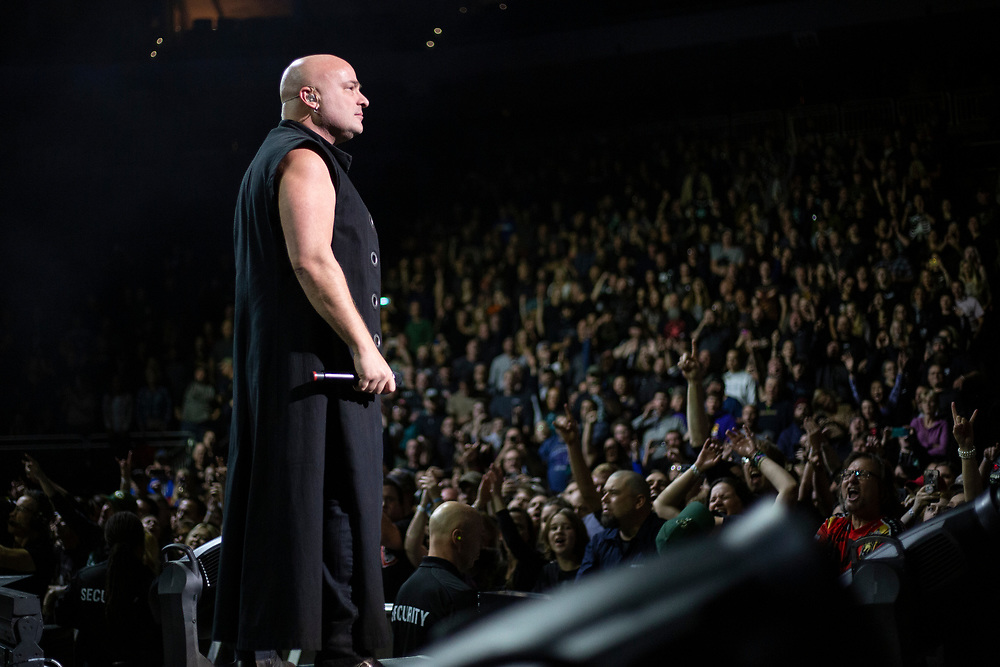Disturbed performs at the Fiserv Forum in Milwaukee, WI on October 13, 2019.