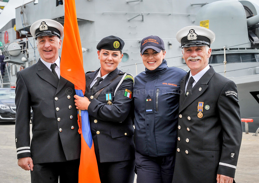 REPRO FREE<br /> Don Healy, Toe Head/Glandore Coast Guard; Shenan O'Mahony and Ruth Bruton, Cork South Civil Defence and Willy Joe Hayes from Castlefreke Coast Guard pictured at the annual Sea Sunday service and parade in Kinsale.<br /> Picture. John Allen
