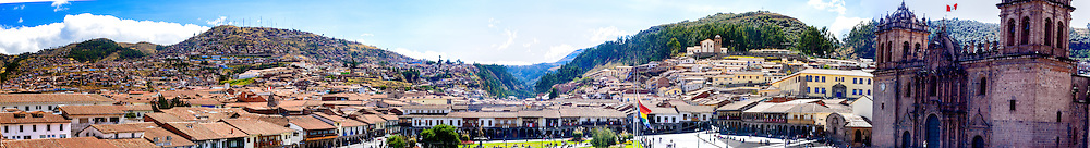 Panoramic view of Cusco taken from the Belltower of the Church of the Society of Jesus