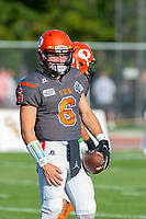 KELOWNA, BC - AUGUST 3:  Ethan Newman #6 of Okanagan Sun stands on the field during warm up against the Kamloops Broncos at the Apple Bowl on August 3, 2019 in Kelowna, Canada. (Photo by Marissa Baecker/Shoot the Breeze)