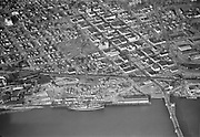 "Ackroyd 02520-01. ""Vancouver Washington aerials. November 8, 1950""<br /> Downtown Vancouver and north end of Interstate Bridge."