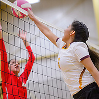 Rehoboth Lynx Halle Lizer (6) tips the ball down on Crownpoint Eagle Kiana Vigil (6) Saturday at Rehoboth High School.