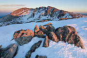 Sunset applys a subtle glow to the summit area of Mount Evans 14,264ft, Mount Evans Widerness Area, Colorado.