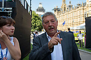 Sammy Wilson MP, Democratic Unionist Party on College Green following the announcment that Boris Johnson is the new Conservative leader and Prime Minister, on July 23, 2019 in London, England.