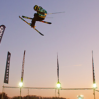 Antti Ollila from Finland performs his trick during the freestyle skiing competition held on the 35 meters high artificial ski jumping ramp on the Monster Energy Fridge Festival in central Budapest, Hungary on November 12, 2011. ATTILA VOLGYI
