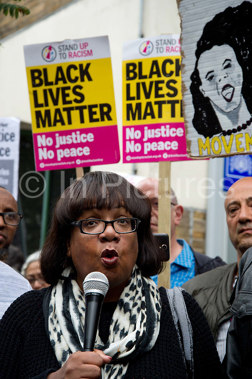 Rally outside Stoke Newington police station, Hackney, where 20 year old Rashan Charles died in custody on 22nd July 2017. Diane Abbott, the MP for Hackney North and Stoke Newington MP, Shadow Home Secretary speaking. (photo by Jenny Matthews/In Pictures via Getty Images)