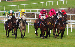 Tower Bridge and J J Slevin (left) on the way to winning the Nathaniel Lacy & Partners Solicitors Novice Hurdle during day one of the Dublin Racing Festival at Leopardstown Racecourse.