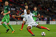 England midfielder Raheem Sterling during the FIFA World Cup Qualifier match between England and Slovenia at Wembley Stadium, London, England on 5 October 2017. Photo by Martin Cole.