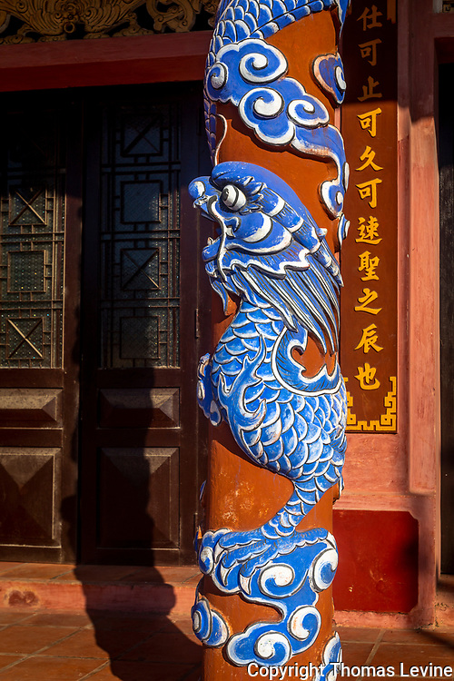 Sept. 2020, Confucius Temple, Hoi An. One of many designed pillars at the temple.