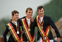 Podium Juniors, Morsinkhof Simon, Nuytens Gilles, Philippaerts Thibault<br /> Belgisch Kampioenschap Juniors<br /> Azelhof - Koningshooikt 2018<br /> © Hippo Foto - Dirk Caremans<br /> 13/05/2018