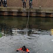 Melding auto te water Oostermeent Noord, brandweer duiker, ijs