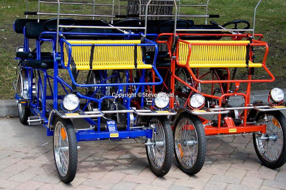 Four wheel sightseeing tourist carts. Svenskarnas Dag Swedish Heritage Day Minnehaha Park Minneapolis Minnesota USA