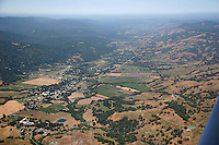 aerial view of Boonville and Anderson Valley in Mendocino County, Northern California