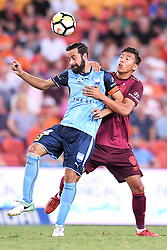 January 8, 2018 - Brisbane, QUEENSLAND, AUSTRALIA - Alex Brosque of Sydney (14, left) and Dane Ingham of the Roar (2) compete for the ball during the round fifteen Hyundai A-League match between the Brisbane Roar and Sydney FC at Suncorp Stadium on Monday, January 8, 2018 in Brisbane, Australia. (Credit Image: © Albert Perez via ZUMA Wire)