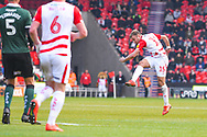 Herbie Kane of Doncaster Rovers (15) shoots during the EFL Sky Bet League 1 match between Doncaster Rovers and Plymouth Argyle at the Keepmoat Stadium, Doncaster, England on 13 April 2019.