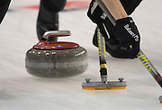 """Glasgow. SCOTLAND.  """"Sweeping"""", """"Round Robin"""" Game. Le Gruyère European Curling Championships. 2016 Venue, Braehead  Scotland<br /> Tuesday  22/11/2016<br /> <br /> [Mandatory Credit; Peter Spurrier/Intersport-images]"""