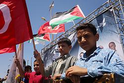 May 31, 2017 - Gaza City, Gaza Strip, Palestinian Territory - Palestinian children hold the Palestinian and Turkish flags  during a rally to mark the 7th anniversary of the Mavi Marmara Gaza flotilla incident, at the seaport of Gaza City May 31, 2017. Nine activists, eight Turkish and one Turkish-American, died on May 31, 2010, when Israeli commandos raided the Mavi Marmara ship, which was part of a flotilla seeking to break the blockade imposed on the Gaza Strip  (Credit Image: © Ashraf Amra/APA Images via ZUMA Wire)