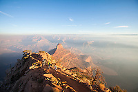 Trail running the South Kaibab Trail. Grand Canyon National Park, AZ.