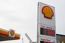 © Licensed to London News Pictures. 30/09/2020. London, UK. A Shell petrol station in London. Royal Dutch Shell Plc will cut up to 9,000 jobs as part of a major overhaul to shift the oil and gas giant to low-carbon energy. Shell will cut the dividend payments to its shareholder for the first time since World War 2. Photo credit: Dinendra Haria/LNP