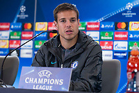 Chelsea's César Azpilicueta attends to press conference before UEFA Champions League match between Atletico de Madrid and Chelsea at Wanda Metropolitano in Madrid, Spain September 26, 2017. (ALTERPHOTOS/Borja B.Hojas)
