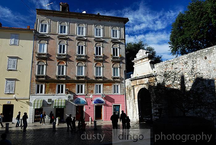 Street scene at Sea Gate (Morska vrata), Zadar, Croatia