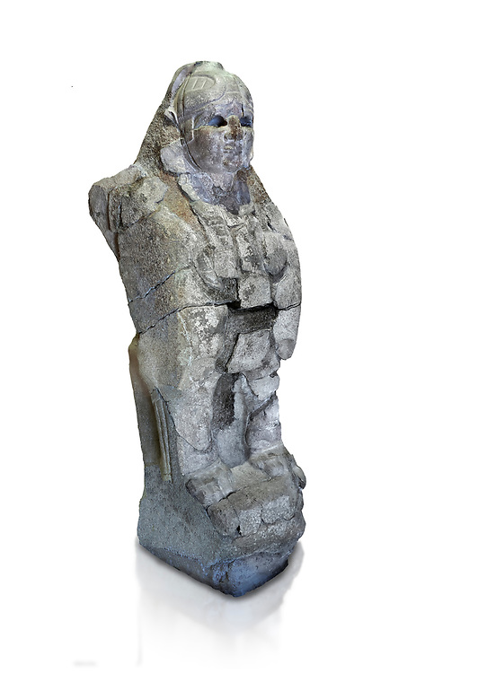 Hittite sphinx sculpture of one of the 4 sphinx's from the Sphinx gate of Hattusa, New Hittite Kingdom, 13th cent BC , Bogazkale archaeological Museum, Turkey. Against white, cut out