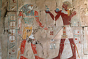EGYPT, THEBES, WEST BANK Temple of Hatshepsut, Anubis and Ra