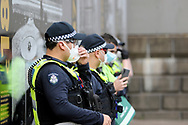 A heavy Police Presence was on hand during the protest on 06 June, 2020 in Melbourne, Australia. This event was organised to rally against aboriginal deaths in custody in Australia as well as in unity with protests across the United States following the killing of an unarmed black man George Floyd at the hands of a police officer in Minneapolis, Minnesota. (Photo by Brett Keating/ Speed Media)