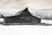 Moulton Barn and Tetons in winter, Grand Teton National Park, Wyoming USA
