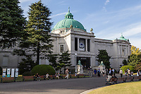 Hyokeikan - Tokyo National Museum collects and displays a comprehensive collection of art and antiquities from Japan and other Asian countries. The museum also conducts research related to fine art and makes these items available to scholars.  The museum was established in 1871 at a different location, outside of Ueno Park.  Several buildings make up the museum complex, shown is the Hyokeikan.