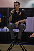 April 1, 2016; Indianapolis, Ind.; Ryan McCarthy speaks at a panel at the Women's Basketball Coaches Association convention at the Women's Final Four in Indianapolis, Ind.