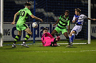 Bristol Rovers Jordan Carey(11) shoots at goal scores a goal 1-0 during the The FA Youth Cup match between Bristol Rovers and Forest Green Rovers at the Memorial Stadium, Bristol, England on 2 November 2017. Photo by Shane Healey.