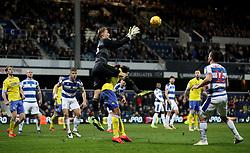 Queens Park Rangers goalkeeper Joe Lumley catches the ball in the air