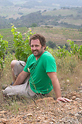 Tom Lubbe, owner winemaker, in his vineyards. Domaine Matassa, Calces, Roussillon, France