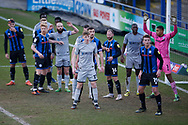 Players crowd the Burton six yards box as Rochdale take a corner during the EFL Sky Bet League 1 match between Rochdale and Burton Albion at the Crown Oil Arena, Rochdale, England on 27 February 2021.