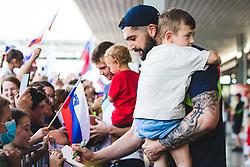 Ziga Dimec signing autographs during arrival of Slovenian national team from Tokio 2020 Olympic games, 8. August 2021, Airport Jozeta Pucnika, Ljubljana, Slovenia. Photo by Grega Valancic