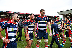 Jack Lam and Ian Evans of Bristol Rugby are all smiles after Bristol Rugby win 12-11 - Rogan Thomson/JMP - 26/02/2017 - RUGBY UNION - Ashton Gate Stadium - Bristol, England - Bristol Rugby v Bath - Aviva Premiership.