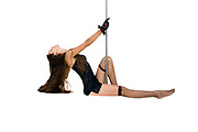 Sexy pole dancer On white Background